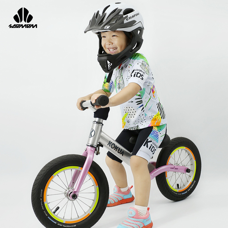 Speed Alliance Children's Cycling Wear Balance Bike Reflective Short Sleeve Short Pants Cycling Suit Racing Suit Roller Skating Dress Elf