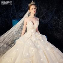 2020 tube top light main wedding 2019 new bride luxury luxury tailing starry sky dress Sen Super fairy dream