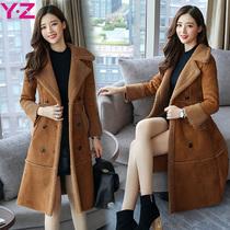 Lambs wool coat womens 2017 new autumn and winter wear coats coat cotton long padded deerskin clothing girls down jacket