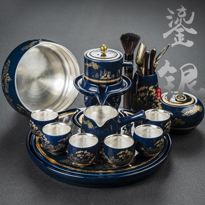 Yan Deyi silver qinghua porcelain automatic kung fu tea set group home small set of lazy anti-hot stone grinding ceramic tea machine