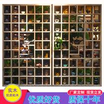 Wall shelf lattice frame solid wood lattice teapot display shelf creative lattice cabinet living room wall custom