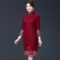 Autumn improved embroidery mother-in-law dress