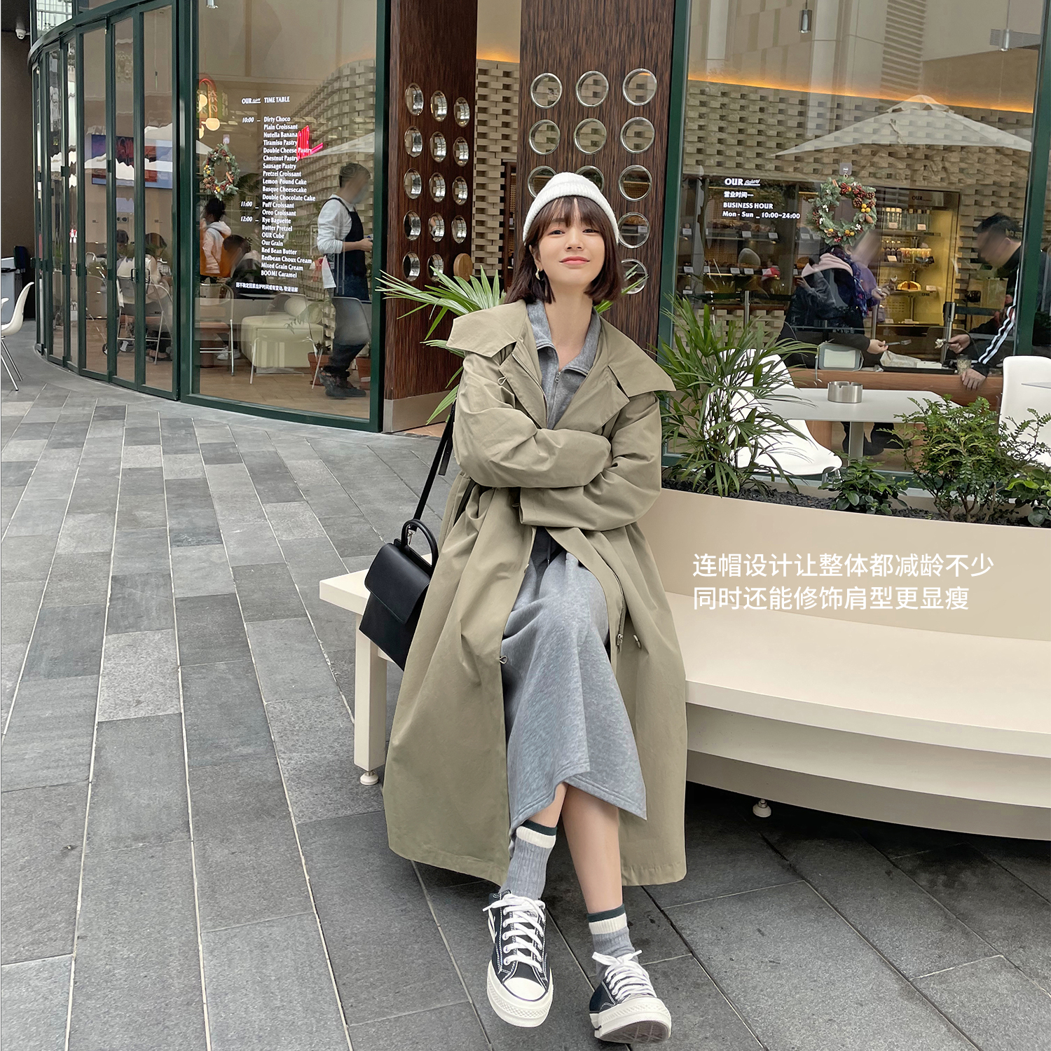 Farrers spring dress 2021 new womens military green high-class feel coat in the long version of the small windshield jacket