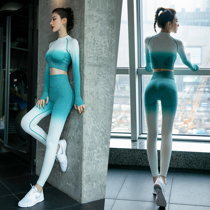 Long-sleeved yoga suit female Korean sexy fashion beginners show lean gym professional sports running tight