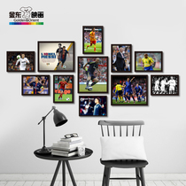 Simple modern soccer art decorative painting star photo combination living room background wall hanging picture bedroom wall painting mural