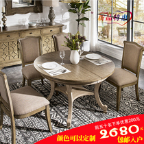 Solid wood American telescopic dining table Handrail Dining Chair retro dining table round oval rectangular table combination customization