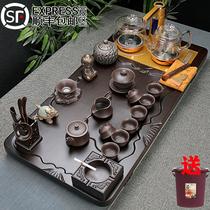 Ebony solid wood tea tray Tea set Household simple Purple sand whole set of Kung Fu Tea cup automatic glass four-in-one