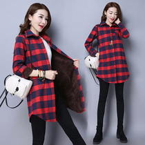 Thickened long-sleeved plaid shirt womens autumn and winter 2019 size womens thin mid-length jacket warm jacket