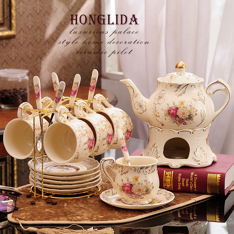 Flower tea tea set group home simple European ceramic candle heating brewed fruit teapot afternoon teacout
