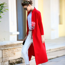 National wind fall of vintage embroidery slim collar trench coat