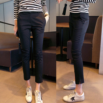 European womens spring and summer stretch slim feet thin suits pants thin waist straight split pants