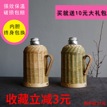 Yuran pavilion hand-made ancient literary and artistic bamboo compilation home insulation bottle insulation bottle glass bile warm bottle open water bottle