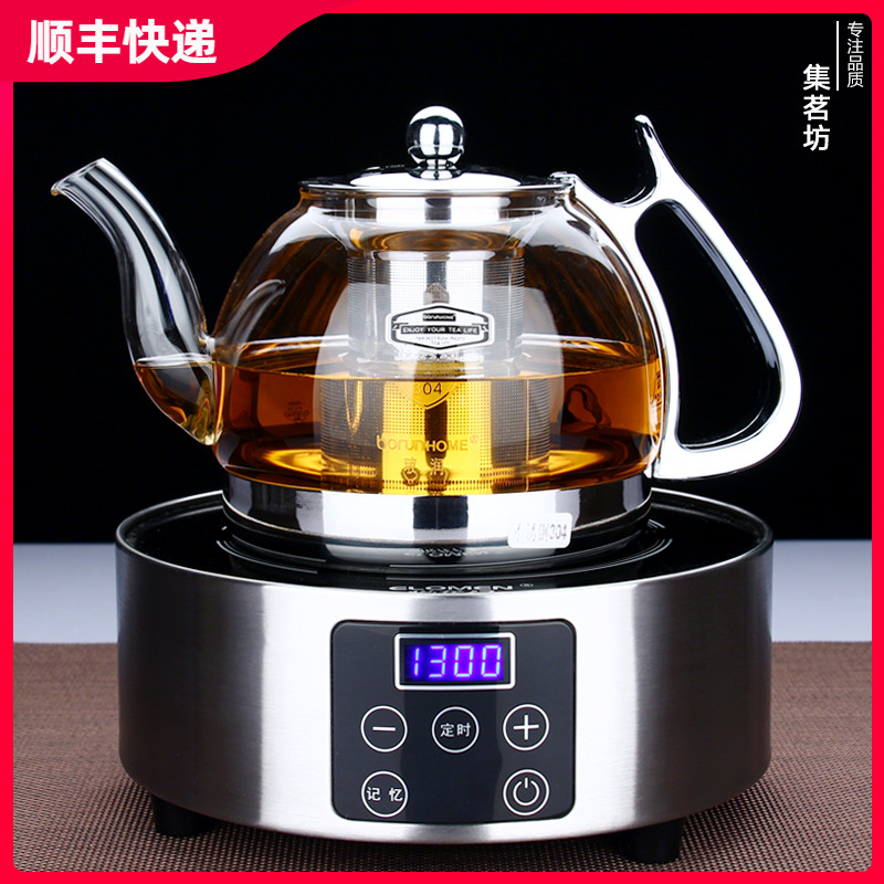 Thickened high temperature brewing teapot glass teapot heat resistant stainless steel net black tea teapot black crystal stove set