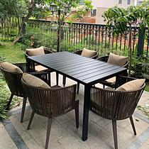 Открытый стол и стулья открытый двор Тен Тен досуг открытая терраса сад двор балкон скандинавская спинка ротанг стул чайный стол