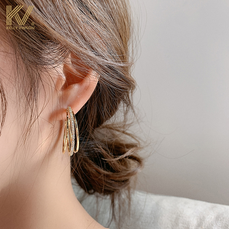 Earrings women 2021 new temperament circle earrings Korean exaggerated pure silver full diamond high-level atmospheric ear accessories tide