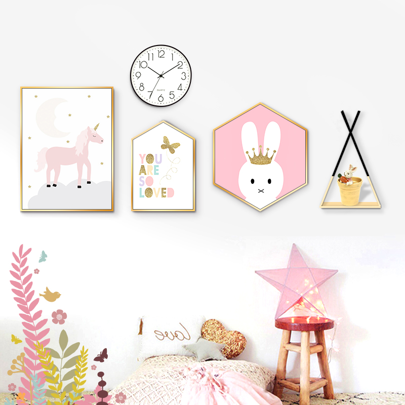 Children's room decorations Nordic bedside bedside paintings boys and girls modern mural hanging sofa background wall paintings tremble