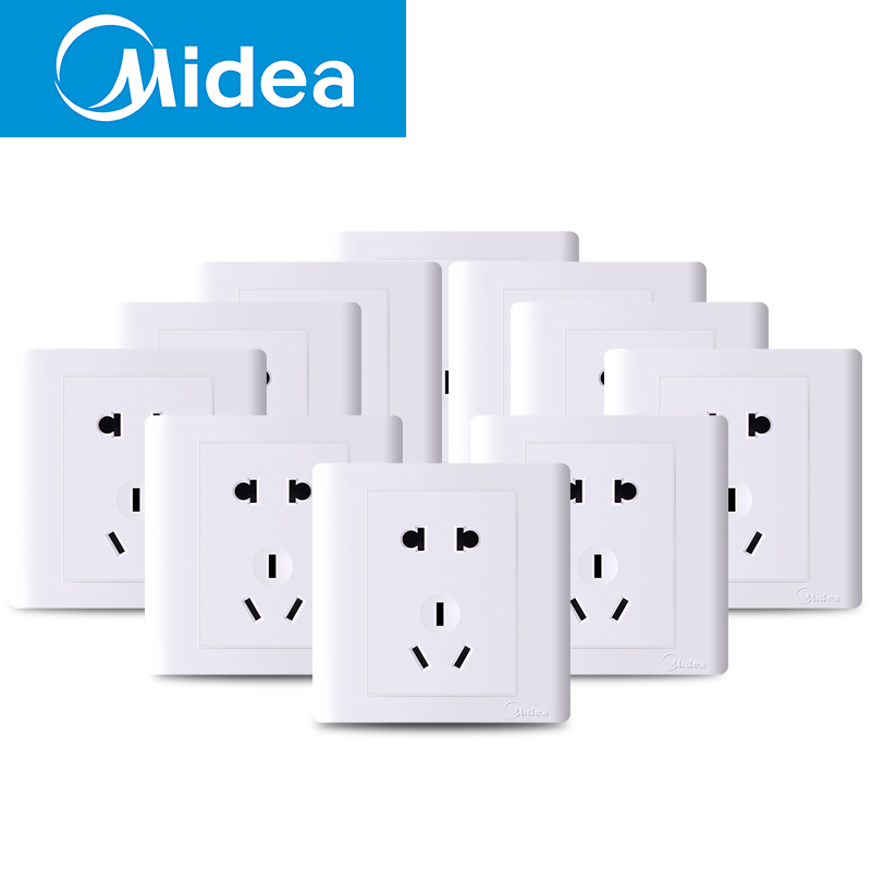 Beautiful 86 type wall power socket five holes two three plug switch panel by elegant white 5 eye suit