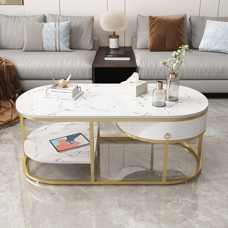 Office marble 麪 the coffee table guest area light luxury atmosphere Nordic hall simple modern commercial living room