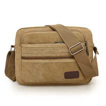 Casual shoulder bag mens bag new canvas small bag cross-body bag business Cross-bag multi-compartment business income wallet male