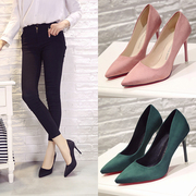 Korean star pointed high-heeled shoes with fine suede shoes 7cm matte black shallow mouth thin shoes all-match tide