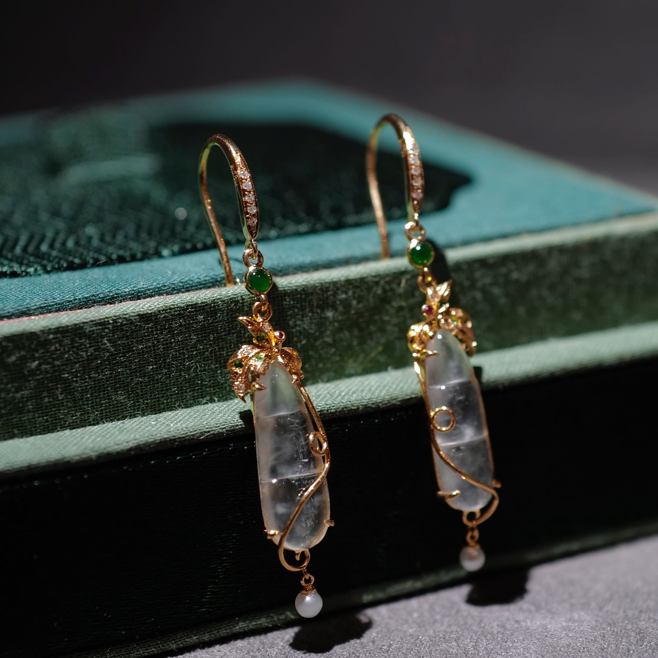 Eyes full of you if Park Mountain House Natural emerald ice bean earrings 18k gold mosaic