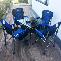 Outdoor table and chair set self-driving field folding table and Chair Beach outdoor leisure tables and chairs four chairs
