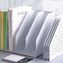 得力三联可折叠加厚文件架筐子多层四栏框办公用资料档案袋文件夹收纳盒置物盘篮学生用书架简易桌上书立桌面
