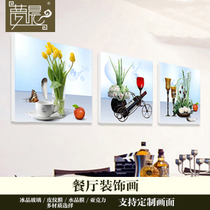 Frameless Restaurant Decoration Painting Modern Simple Background Wall Painting Wine Cup Flower Murals Ice Crystal Glass Painting Package