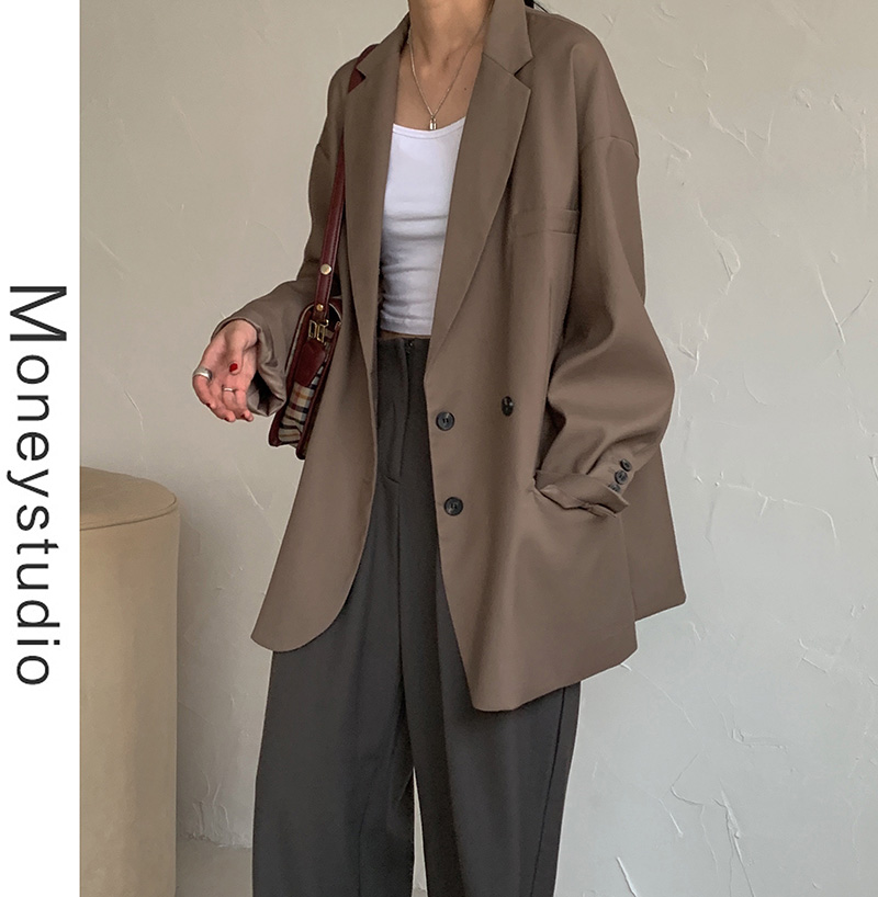 2021 spring new Korean version loose oversize top retro wide casual small blazer female ins