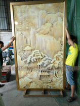 Special art glass aisle background wall deep relief carving entrance partition screen 3D three-dimensional sense of jade carving landscape painting
