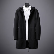 Fashion mens high-grade warm wool coat in the long section of autumn and winter Hooded casual self-cultivation plus velvet jacket men