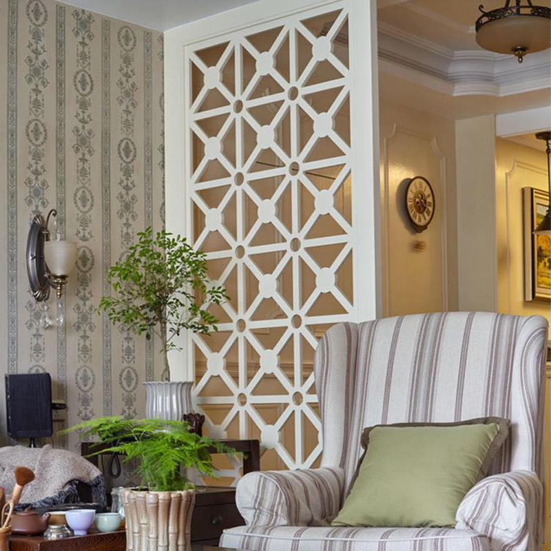 Nordic Modern Simple Screen Entrance Point Living Room Separates European-style Flower-carved Panels and Hollow-out Panels and Wood Grilles