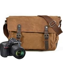 Chimei Waterproof SLR Camera bag vintage oil wax canvas wear-resistant shoulder bag outdoor Leisure travel crossbody bag