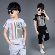 The child child short suit 2017 new boys in the summer summer wear cotton two piece sports T-shirt