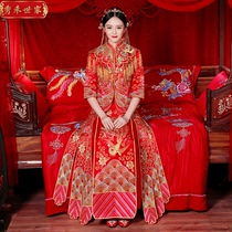 Xiu wo clothing 2017 new toast bride wedding dress cheongsam chinese wedding gown big code dragon coat skirt Autumn Paragraph