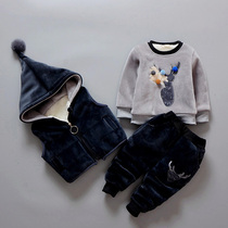 With 0-1-2-3-4 years old male baby clothing baby child clothes for fall winter girls suit thick sweater three piece set