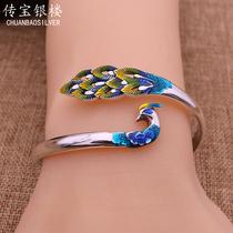 Cloisonne peacock bracelet women 999 sterling silver jewelry jewelry original design birthday gift to girlfriend
