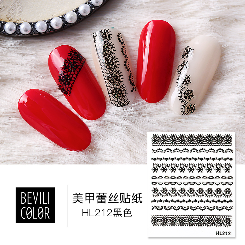 Willin nail sticker Korean waterproof durable environmental protection decals fingernail watermarking jewelry 3D stereo patch lace