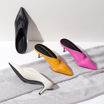 Pointed stiletto high heeled V-neck slippers female Baotou fold half cool drag rose red yellow black with Muller shoes