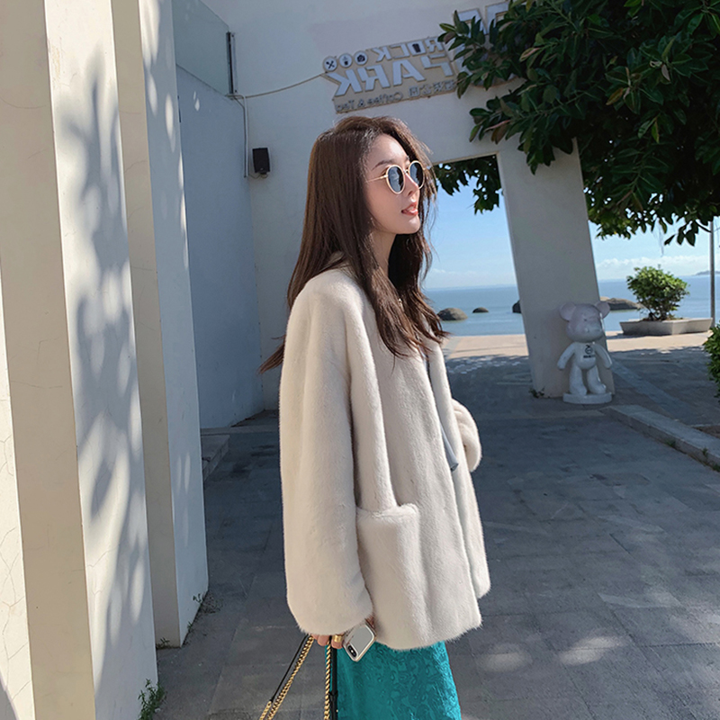 2020 winter clothes new casual young model medium- and long-length version of mink fur coat female imported whole fur coat fur