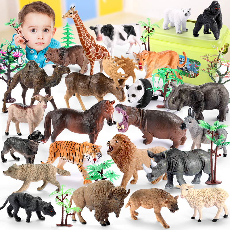 Animal model of dinosaur toy kit in children's zoo large tiger lion boy cow hippopotamus wild
