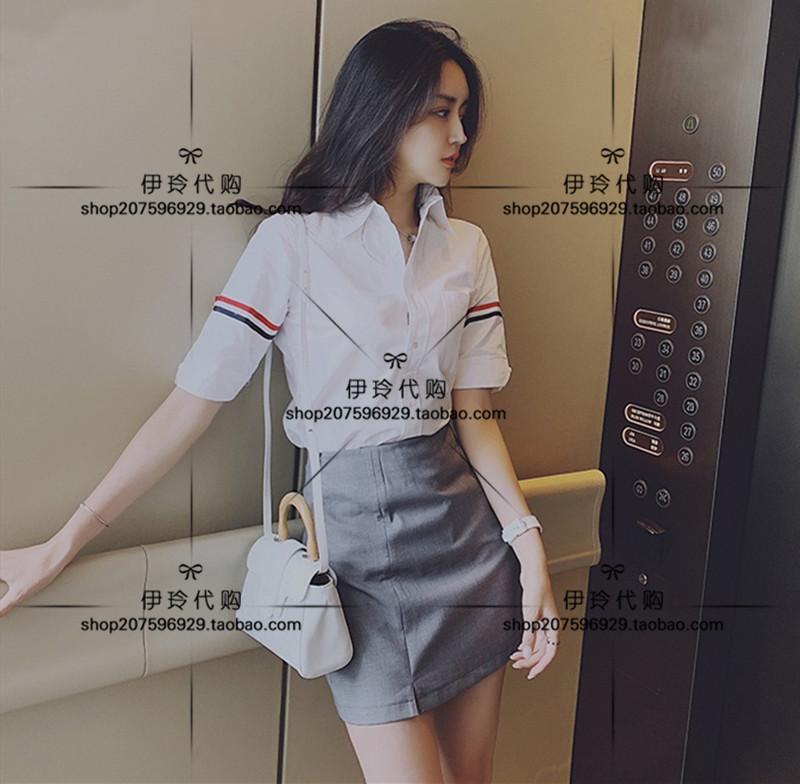 Thom Browne Shirt Spring   Summer 20 tb Double Armband Casual Oxford Mens and Womens short sleeve shirt