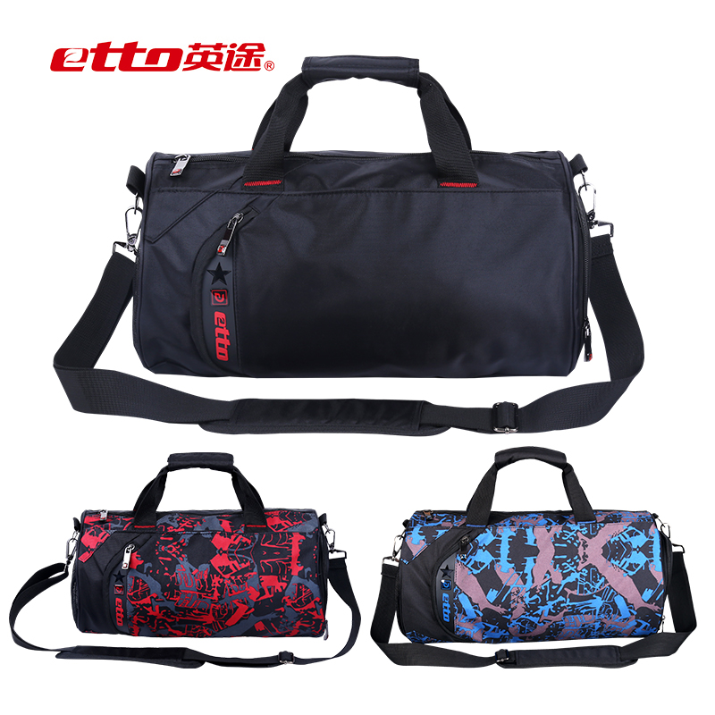 Etto British way backpack men and women sports bag football training equipment package shoulder diagonal bag camouflage tube bag