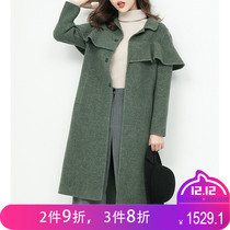 Barney brand Double-sided cashmere coat 2018 new Shawl cloak woman medium long fake two coat