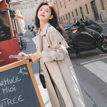 Beige windcoat womens long temperament 2021 new popular long over-knee coat womens spring and autumn coat