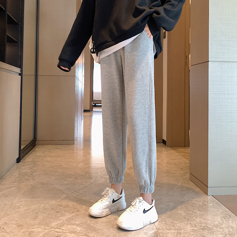 2020 autumn and winter plus velvet sweatpants women's trousers loose-fitting outer wear gray thin and thick casual pants