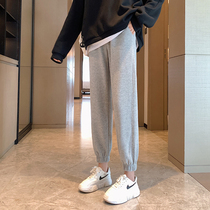 2021 Spring and Autumn Sports Pants Womens Pants Loose Feet Plus Velvet Small Man Gray Slim Fall Casual Pants