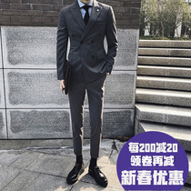 Korean version of the striped suit suit men slim double-breasted British young trend casual handsome wedding suit