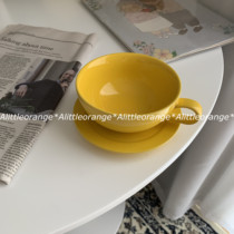Alittleorange Japanese color ceramic coffee cup set late pull flower cup yellow cup dish 260ML.