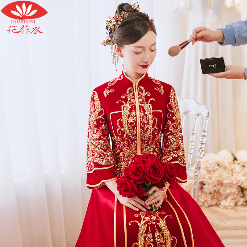 Heavy industry show dress 2020 new wedding dress bride wedding dress Chinese wedding dress dragon phoenix hanging show and dress velvet